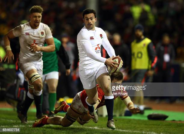 Dominic Morris of England runs with the ball during the U20 Six Nations match between Wales U20 and England U20 at Eirias Stadium on February 10 2017...