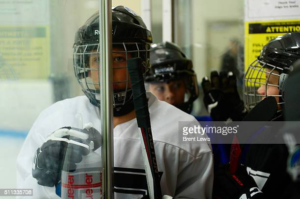 Dominic Nuinus waits to hit the ice for practice at Edge Ice Arena on February 17 2016 in Littleton Colorado Hockey has developed a following in...