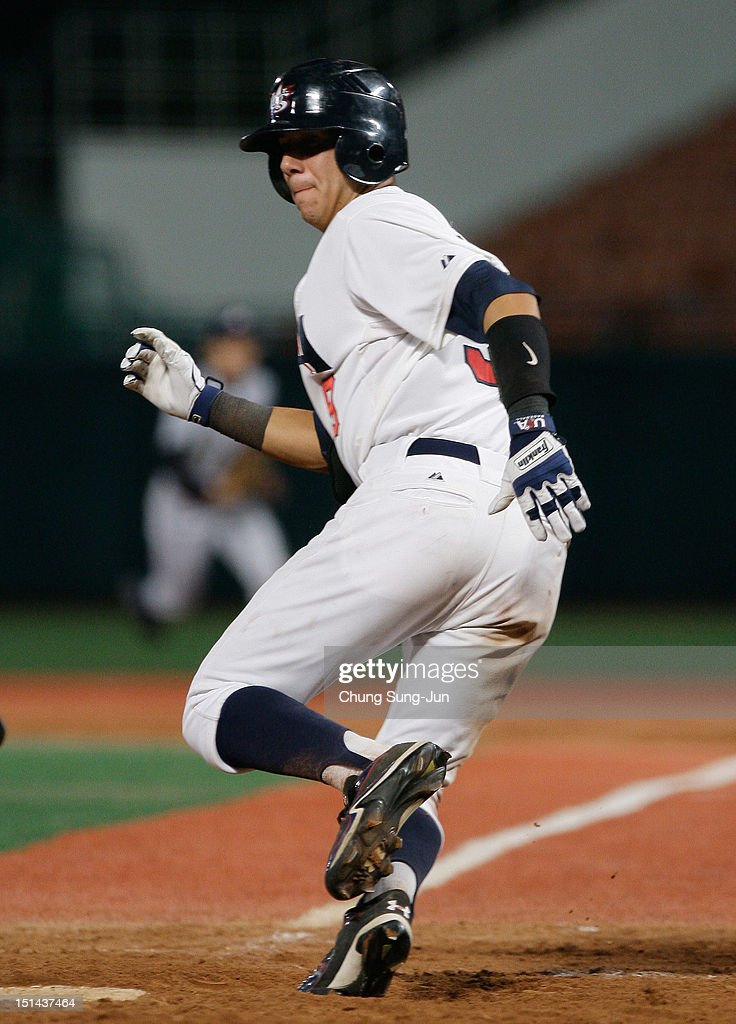 Dominic Nunez of United States run to first base during the U18 Baseball World Championship match between Japan and the United States at Mokdong stadium on September 7, 2012 in Seoul, South Korea.