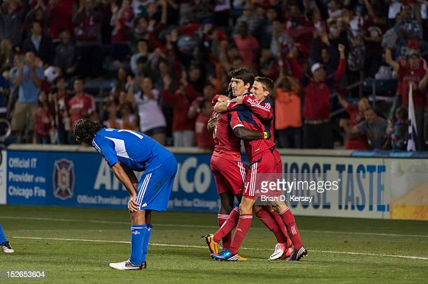 Dominic Oduro Alvaro Fernandez and Chris Rolfe of Chicago Fire celebrate Fernandez's goal against the Montreal Impact at Toyota Park on September 15...