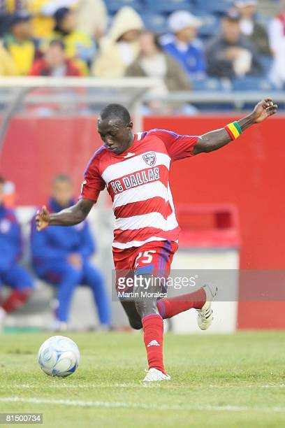Dominic Oduro of FC Dallas handles the ball against the New England Revolution at Gillette Stadium on June 06 2008 in Foxborough MassachusettsThe...