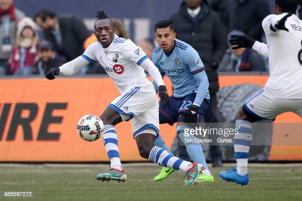 Dominic Oduro of Montreal Impact challenged by Ronald Matarrita of New York City FC during the New York City FC Vs Montreal Impact regular season MLS...