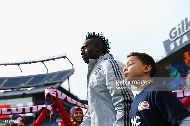 Dominic Oduro of Montreal Impact enters the field before the game against the New England Revolution at Gillette Stadium on March 21 2015 in Foxboro...