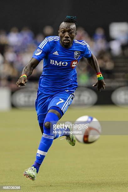 Dominic Oduro of Montreal Impact runs after the ball during the MLS game against the Orlando City SC at the Olympic Stadium on March 28 2015 in...