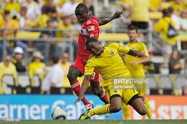 Dominic Oduro of the Chicago Fire and Emmanuel Ekpo of the Columbus Crew battle for control of the ball in the first half on June 12 2011 at Crew...