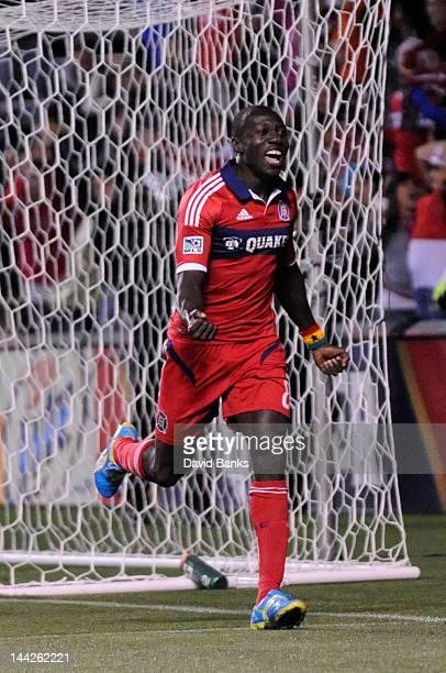 Dominic Oduro of the Chicago Fire celebrates his goal against Sporting Kansas City during the second half in an MLS match on May 12 2012 at Toyota...