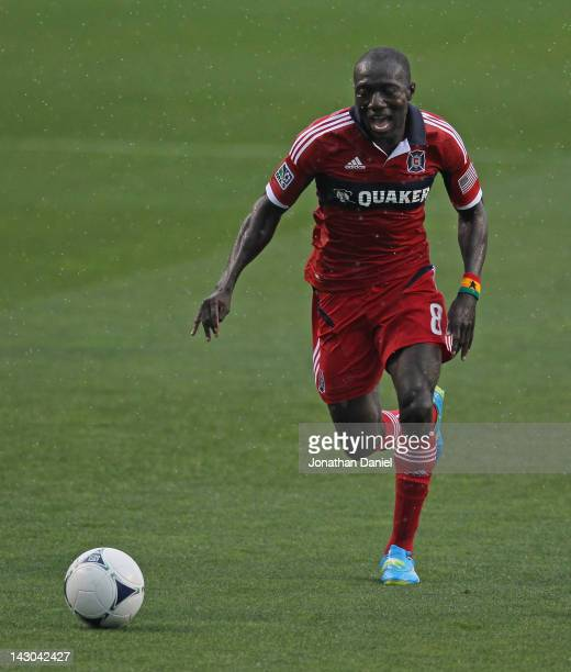 Dominic Oduro of the Chicago Fire chases the ball against the Houston Dynamo during an MLS match at Toyota Park on April 15 2012 in Bridgeview...