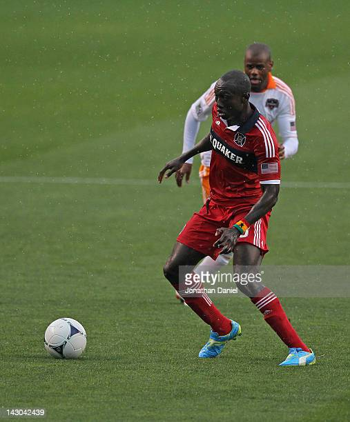 Dominic Oduro of the Chicago Fire looks to pass against the Houston Dynamo during an MLS match at Toyota Park on April 15 2012 in Bridgeview Illinois...