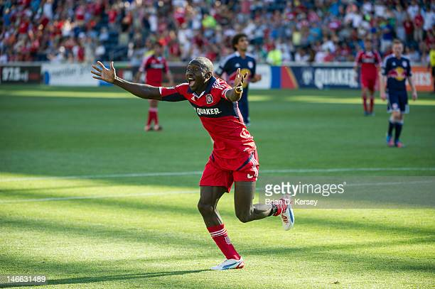 Dominic Oduro of the Chicago Fire reacts after a goal was disallowed against the New York Red Bulls at Toyota Park on June 17 2012 in Bridgeview...