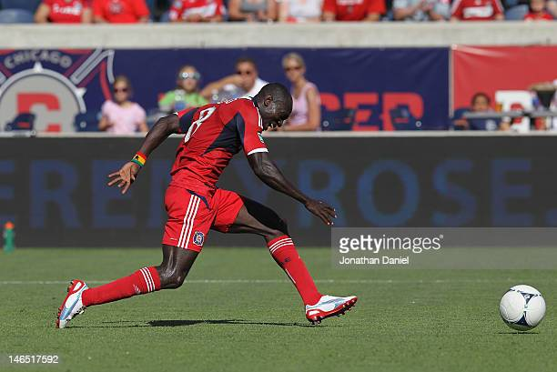 Dominic Oduro of the Chicago Fire shoots against the New York Red Bulls during an MLS match at Toyota Park on June 17 2012 in Bridgeview Illinois The...