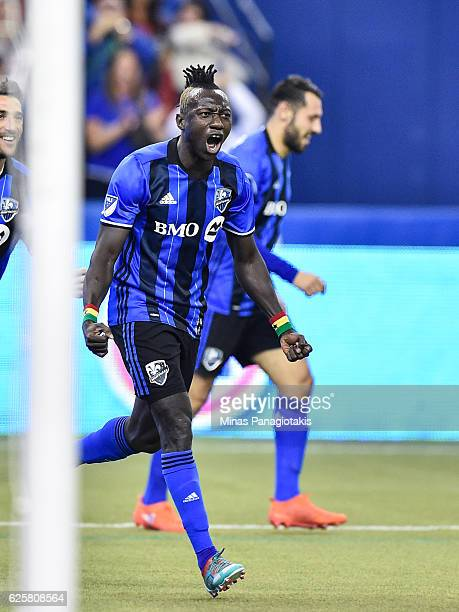 Dominic Oduro of the Montreal Impact celebrates his goal during leg one of the MLS Eastern Conference finals against the Toronto FC at Olympic...