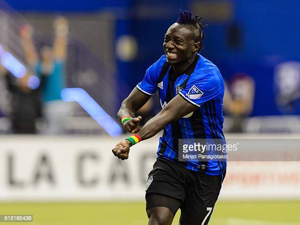 Dominic Oduro of the Montreal Impact reacts after scoring early in the second half during the MLS game against the New York Red Bulls at the Olympic...