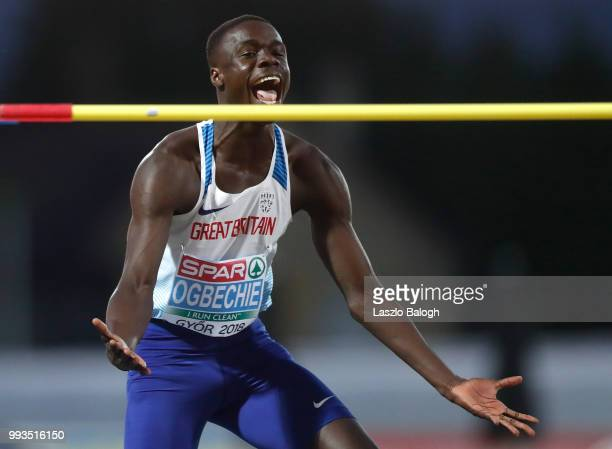 Dominic Ogbechie of Great Britain celebrates after he won High Jump competition during European Atletics U18 European Championship on July 7 2018 in...
