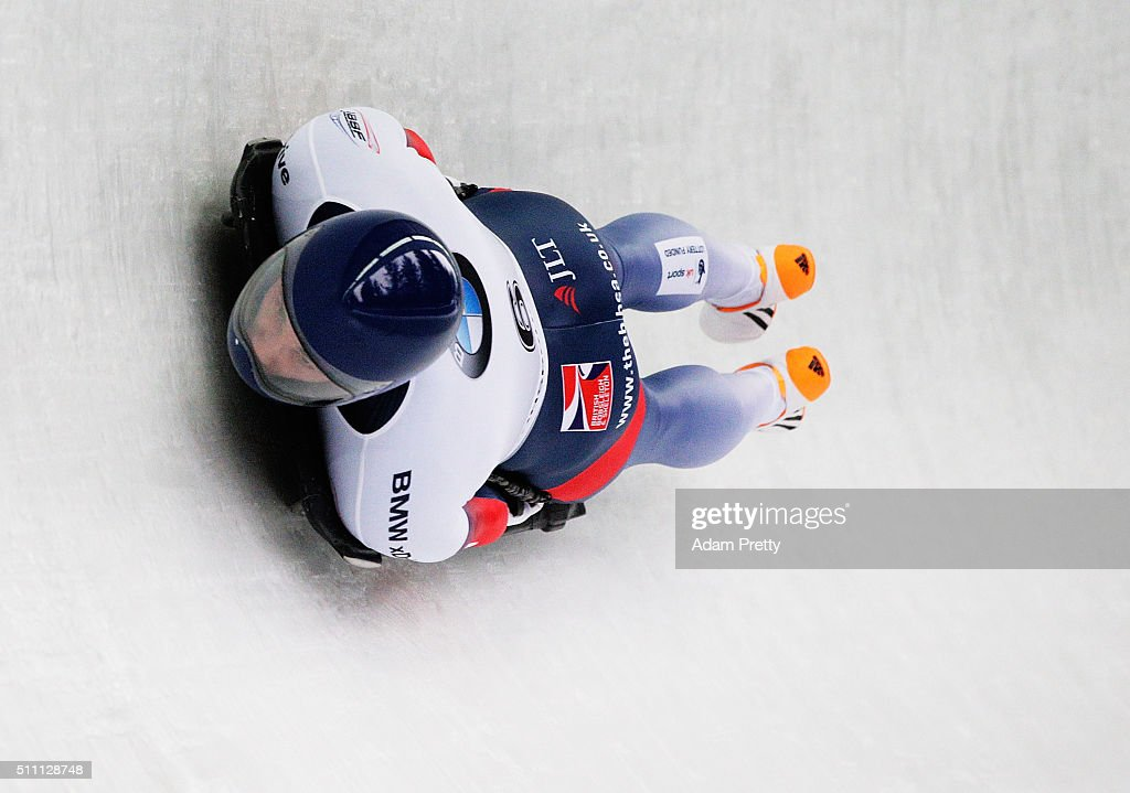 Dominic Parsons of Great Britain completes his first run of the Men's Skeleton during Day 4 of the IBSF World Championships 2016 at Olympiabobbahn Igls on February 18, 2016 in Innsbruck, Austria.