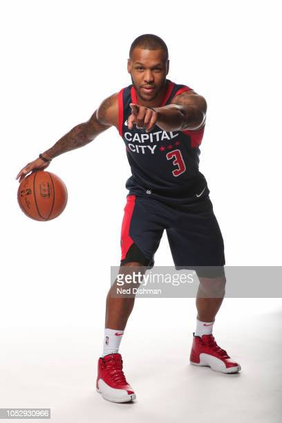 Dominic Phillips of the Capital City GoGo poses for a portrait during NBA GLeague media day in the Entertainment and Sports Arena at St Elizabeth's...