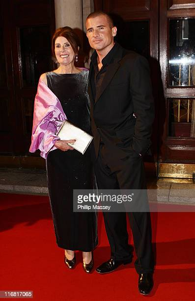 Dominic Purcell and his mother Maureen arrive for the Irish Film Television Awards at Gaiety Theatre on February 17 2008 in Dublin Ireland