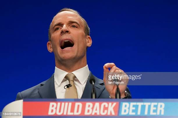 Dominic Raab, Deputy Prime Minister, Lord Chancellor, and Secretary of State for Justice delivers his keynote speech during the Conservative Party...
