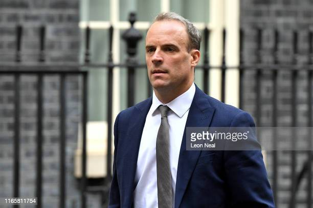 Dominic Raab First Secretary of State and Secretary of State for Foreign and Commonwealth Affairs walks in Downing Street on September 3 2019 in...
