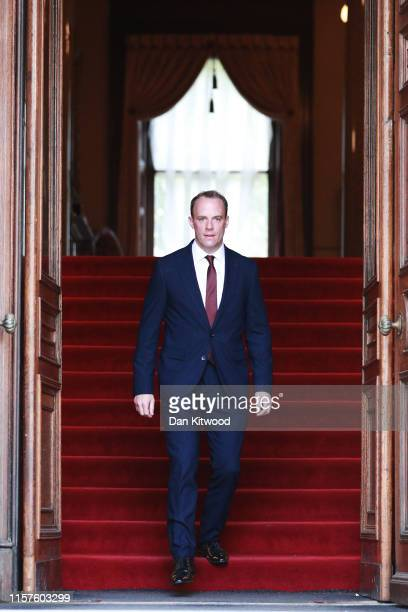 Dominic Raab is seen at the Foreign and Commonwealth building after being appointed as the UK Foreign Secretary by new UK Prime Minister Boris...