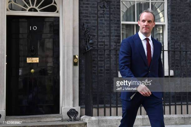 Dominic Raab leaves Number 10 Downing Street after being appointed Foreign Secretary on July 24 2019 in London England Boris Johnson took the office...