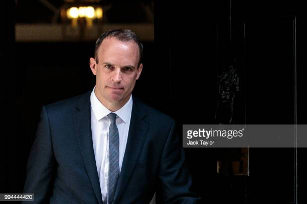 Dominic Raab leaves Number 10 Downing Street after being appointed Brexit Secretary by British Prime Minster Theresa May on July 9 2018 in London...