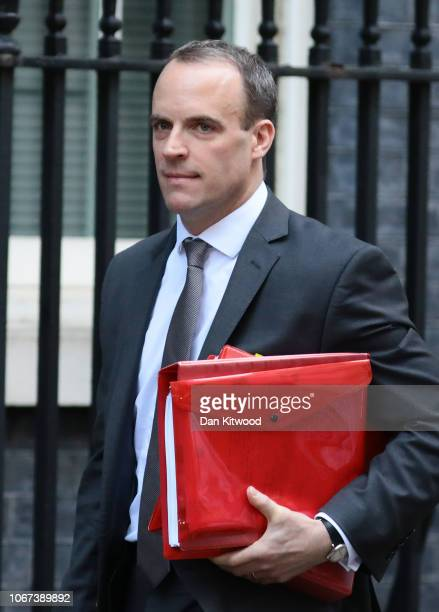 Dominic Raab Secretary of State for Exiting the European Union leaves Downing Street for Prime Minister's questions on November 14 2018 in London...
