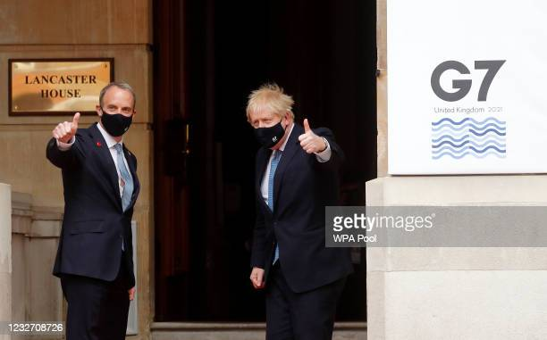 Dominic Raab, Secretary of State for Foreign Affairs welcomes British Prime Minister Boris Johnson to the G7 foreign ministers' meeting on May 11,...