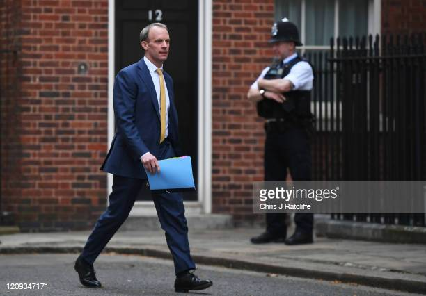 Dominic Raab Secretary of State for Foreign and Commonwealth Affairs arrives for the daily Coronavirus briefing at No10 Downing Street on April 07...