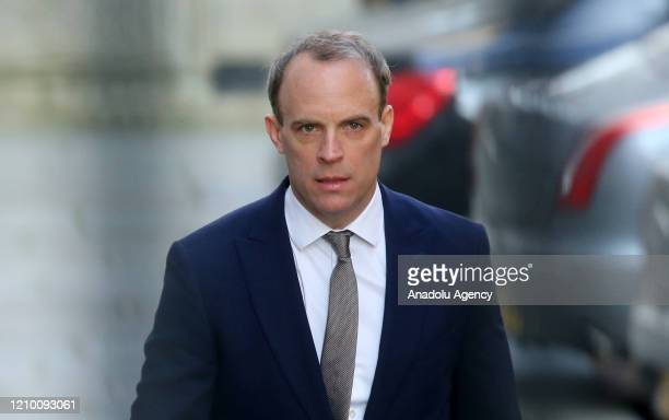 Dominic Raab Secretary of State for Foreign and Commonwealth Affairs arrives at No10 Downing Street on April 16 2020 in London United Kingdom ahead...