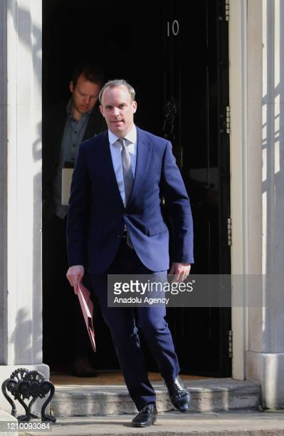Dominic Raab Secretary of State for Foreign and Commonwealth Affairs leaves No10 Downing Street on April 16 2020 in London United Kingdom following...