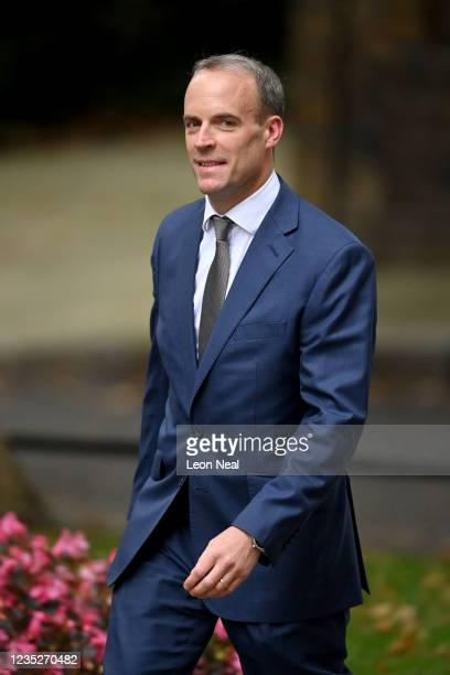 Dominic Raab, Secretary of State for Foreign, Commonwealth and Development Affairs arrives at 10 Downing Street on September 15, 2021 in London,...