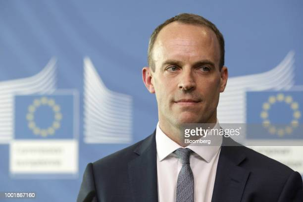 Dominic Raab UK exiting the European Union secretary left shakes hands with Michel Barnier chief negotiator for the European Union ahead of the...