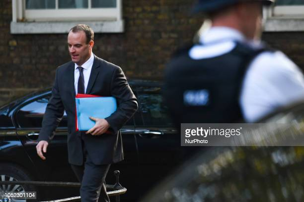 Dominic Raab UK exiting the European Union secretary arrives for a weekly meeting of cabinet ministers at number 10 Downing Street in London on...