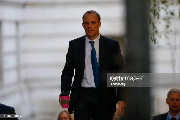 Dominic Raab UK foreign secretary arrives at Downing Street in London UK on Wednesday April 22 2020 Boris Johnson's coronavirus strategy faces its...