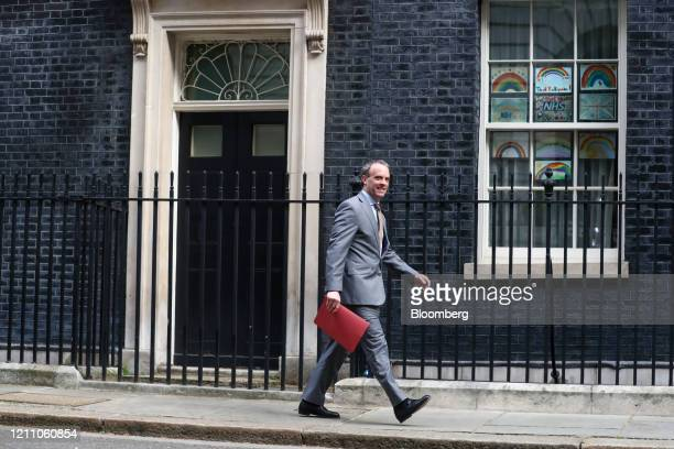 Dominic Raab UK foreign secretary arrives at number 10 Downing Street in London UK on Monday April 27 2020 UK Prime Minister BorisJohnson is back at...