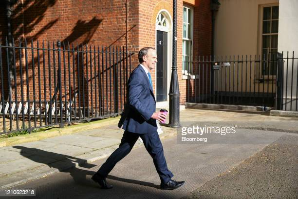 Dominic Raab UK foreign secretary arrives in Downing Street in London UK on Wednesday April 22 2020 Boris Johnson's coronavirus strategy faces its...