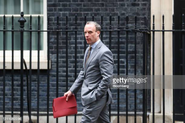 Dominic Raab UK foreign secretary departs from number 10 Downing Street in London UK on Monday April 27 2020 UK Prime Minister Boris Johnson is back...