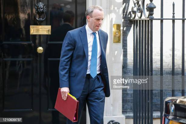 Dominic Raab UK foreign secretary departs number 10 Downing Street on his way to a weekly questions and answers session in Parliament in London UK on...