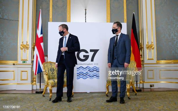 Dominic Raab, U.K. Foreign secretary, left, and Heiko Maas, Germany's foreign affairs minister, at the start of bilateral meeting on the sidelines of...