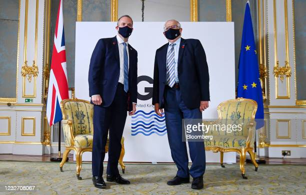 Dominic Raab, U.K. Foreign secretary, left, and Josep Borrell, vice president of the European Commission, at the start of the bilateral meeting on...