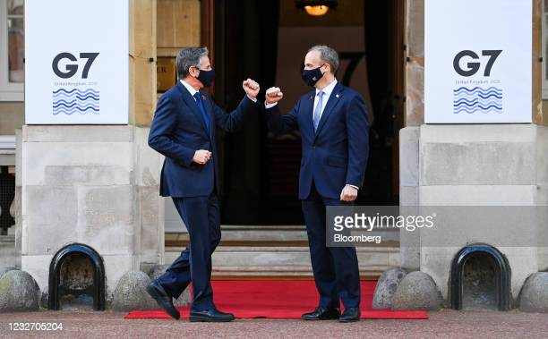 Dominic Raab, U.K. Foreign secretary, right, greets Antony Blinken, U.S. Secretary of state, at the G-7 foreign and development ministersmeeting at...