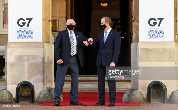 Dominic Raab, U.K. Foreign secretary, right, greets Josep Borrell, vice president of the European Commission, at the G-7 foreign and development...