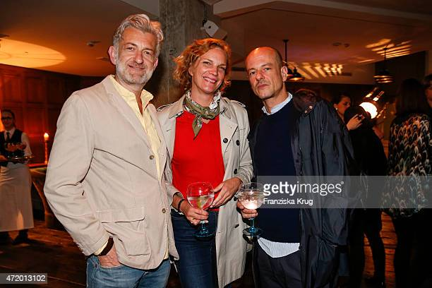 Dominic Raacke Alexandra Rohleder and Alex Duve attend the Artist Weekend Berlin and Soho House party with Bombay Sapphire on May 02 2015 in Berlin...
