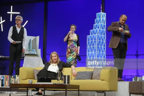 Dominic Raacke Katja Weitzenboeck Jana Klinge and Romanus Fuhrmann on stage during the rehearsal for the play Die Niere at Komoedie Winterhude...