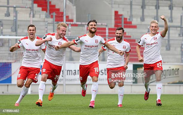 Dominic Rau Marcel Baude Selim Aydemir Sascha Pfeffer and Maximilian Jansen pose during the official team presentation of Hallescher FC at...