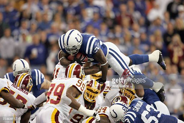 Dominic Rhodes of the Indianapolis Colts dives for the goal line during the NFL game against the Washington Redskins on October 22 2006 at the RCA...
