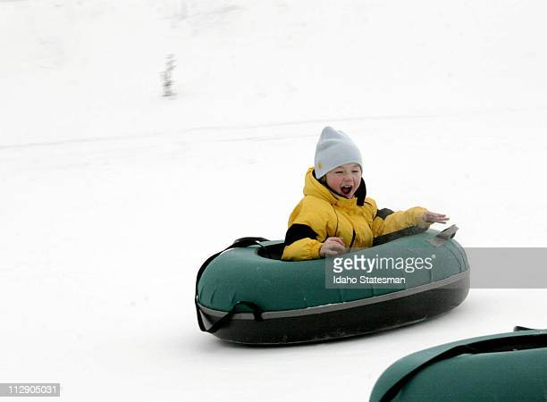 Dominic Sallee of Star Idaho has a blast on the Pepsi GoldRush Tubing Hill at Bogus Basin