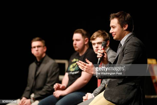 Dominic Scavuzzo a Republican Party teenage candidate for Kansas governor explains his political ideas to a crowd of students at Hillsboro High...