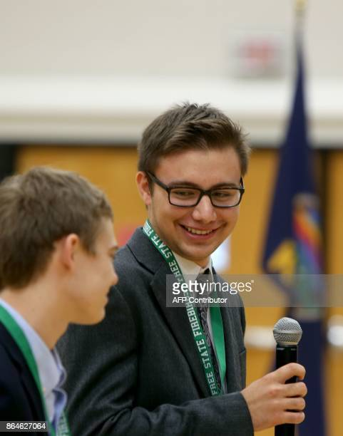 Dominic Scavuzzo of Leawood Kansas speaks during a forum with the four teenage candidates for Kansas Governor at Free State High School in Lawrence...