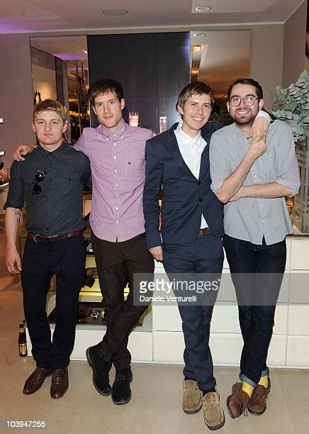 Dominic Sennet, Sam Fry, Micky Osment and Edward Ibbotson of the band Life In Film pose during the VOGUE Fashion's Night Out at the Burberry boutique...